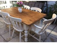 Shabby chic pine farmhouse table and 6 chairs refurbished