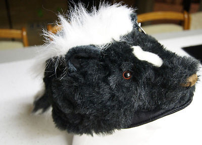 SKUNK HAT tail Halloween COSTUME head mask cap PLUSH flower stripe daniel boone - Skunk Halloween Costumes