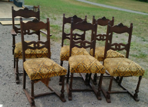 set of 6 chairs, including one arm chair