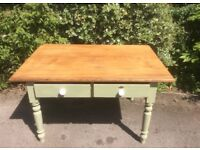 Pine Farmhouse Kitchen Table with Drawers