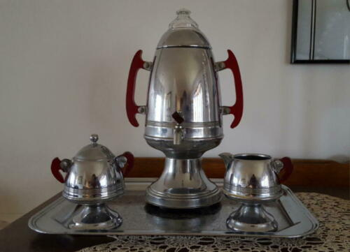 Vintage deco Chrome/Red Lucite Percolator Coffee Pot Maker Urn Set w/ rare tray