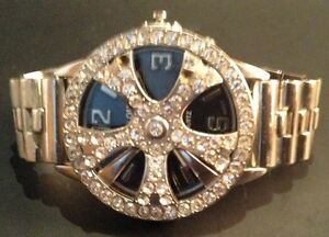 Men's Silver Iced Out Diamond Rim Watch