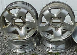 4 Aluminum 5 Spoke Rims for Sale + 1 Steel rim for spare tire