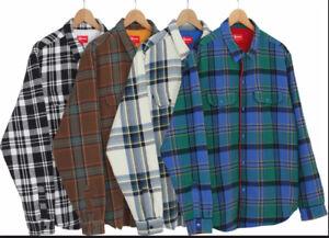 SUPREME NY Lined Plaid Flannel Shirt XL Black New/Bag & sticker