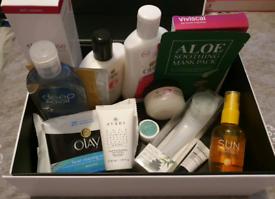 Box of brand new skincare.