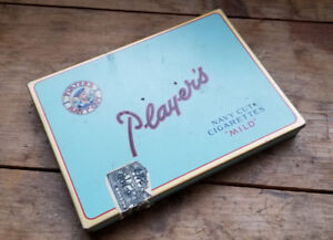 Player's Cigarettes Tin Vintage 1950s With Seal - Collectible!