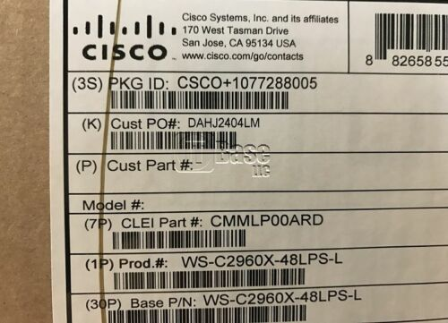 *new Sealed* Cisco Ws-c2960x-48lps-l Catalyst 2960x Switch 48 Port