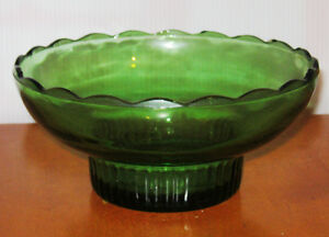 EO BRODY CO USA M2000 GREEN GLASS CANDY DISH BOWL Scalloped Edge