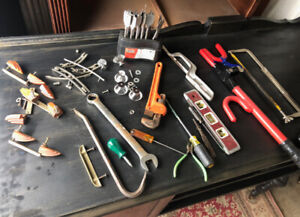 Old hand tools, new drill bits, furniture knobs, etc.