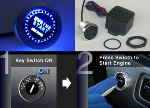 12V Engine Ignition Push Start Button Starter Switch Blue LED Background Light