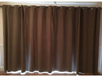 Long length brown curtains
