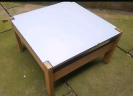 LOW White Top WOOD Wooden COFFEE TABLE - CARD POKER TABLE