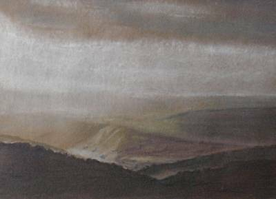 Across Moorland Pastel Painting B.A Gammans Inscribed Sunlight on the Moors 1990