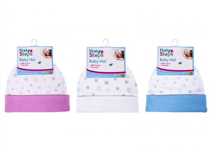 Baby Mütze Erstlingsmütze mit Sternenmuster 100% Baumwolle