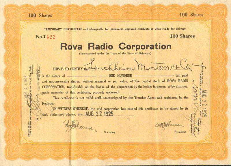 Rova Radio >1925 Delaware old stock certificate share