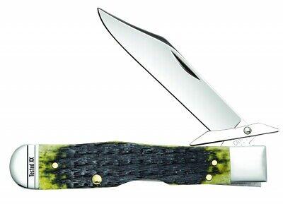 Case xx Cheetah Knife Jigged Olive Green Bone 13285 Stainless Pocket Knives