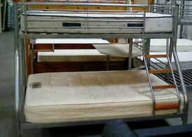 SOLD Metal Frame Bunk Bed with mattresses - Double Bottom and Single Top