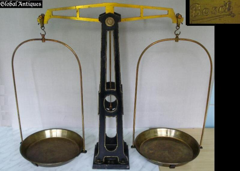 19C. ANTIQUE APOTHECARY GOLD PLATED SCALES - BOSCH