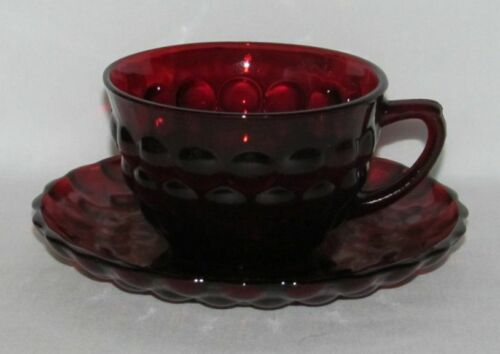 Anchor Hocking Glass Co. BUBBLE Ruby Red Cup and Saucer Set