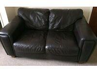 --FREE-- black leather settee, good conditiom