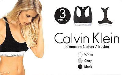 Calvin Klein 3er Pack Bustier , Schwarz-Weiß-Grau, Gr. S, Neu mit Etikette