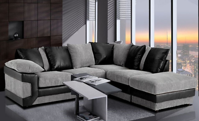 New Amara Corner Sofa Jumbo Cord Suite Set Footstool 3 2 Seater Grey Black Brown