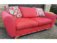 Red fabric designer couch sofa suite