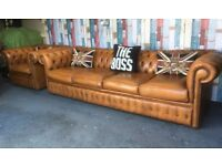 Stunning SUPER Rare Chesterfield Tan Leather 4 Seater & Club Chair - Uk Delivery