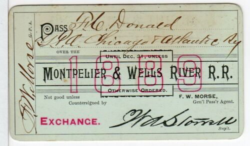 Montpelier and Wells River Railroad of Vermont - 1889 Annual Railway Pass