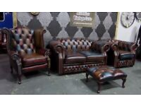 NEW Chesterfield Harlequin 2 Seater and Queen Anne Wing Back & Club Chair in Leather - UK Delivery
