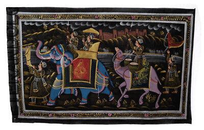 Hanging Wall Painting Mughal on Silk Art Scene de Life India 75x47cm 26