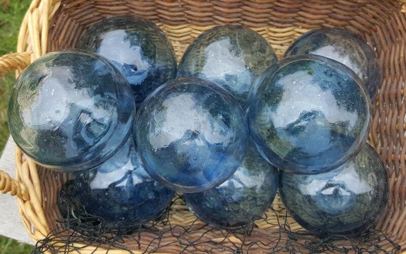 "Japanese GLASS Fishing FLOATS 3-3.5"" LOT-9 TRUE BLUE Buoy BALLS Authentic Vntg"