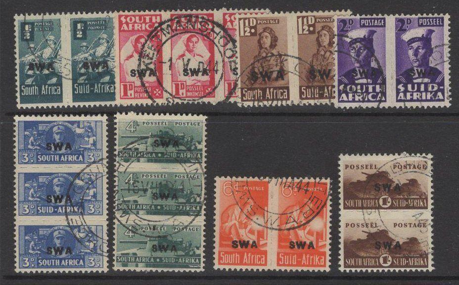 SOUTH WEST AFRICA SG123/30b 1943-4 WAR EFFORT FINE USED