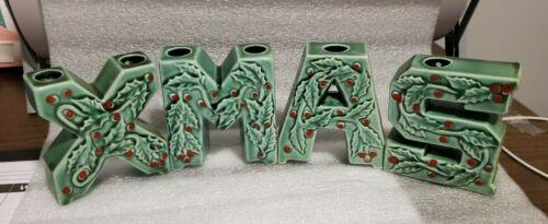 Vintage XMAS Letters Christmas Candle Holders Ceramic Figures Japan