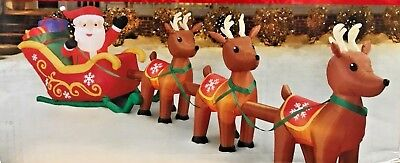 NEW GIANT 16FT LONG SANTA CLAUS SLEIGH 3 REINDEER PRESENTS INFLATABLE BY GEMMY for sale  Shipping to Canada
