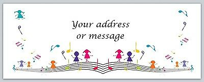 30 Personalized Return Address Labels Music Notes Buy 3 get 1 free (bo 756)