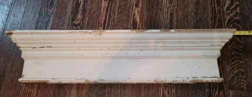 "Window HEADER Pediment Lintel WHITE Chippy Paint 43"" SHELF FARM FRESH Victorian"