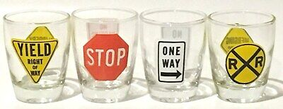 Lot of 4 Road / Street Sign Shot Glasses (Stop, One Way, Yield, Merging Traffic)