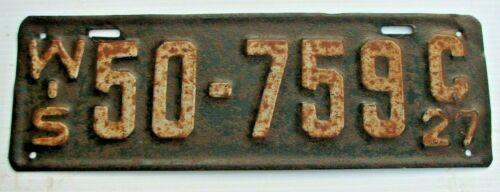 """1927 WISCONSIN  AUTO LICENSE PLATE  """" 50 759 C """"  WI  27  ORIGINAL CONDITION"""
