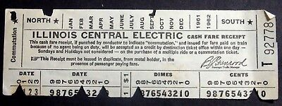 1961-62 CASH FARE RECEIPT FOR THE ILLINOIS CENTRAL ELECTRIC COMMUTER RAILWAY