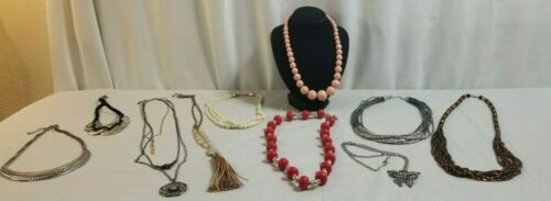 10 Piece NECKLACES Costume Jewelry Lot FAUX PEARL, Statement, Pink Lucite # 22