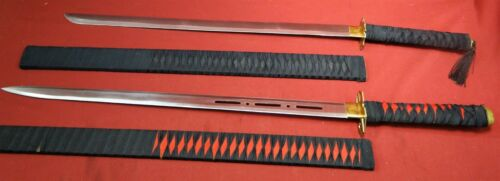 Pair of Contemporary Japanese Type Samurai Swords w/Wood Scabbards