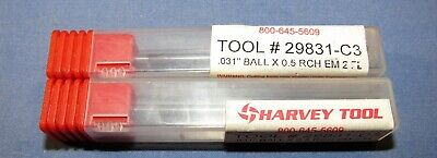 Long Reach,Long Flute .093D CARB 3 FL Square Harvey Tool Miniature End Mills