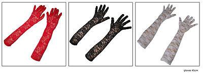 Spitzen-handschuhe Handschuh-e Spitze lang rot Einheitsgroße Karneval Party KK