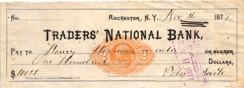 1877  Traders National Bank Rochester, NY. Old Check Orange 2 Cent IRS Overprint