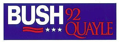 1992 George Bush  Dan Quayle Re Election Campaign Bumper Sticker  Bush Quayle 92