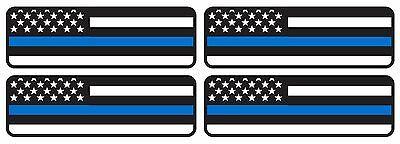 "4 PCS 1""X3"" BLUE LIVES MATTER FLAG DECAL THIN BLUE LINE POLICE HELMET STICKER"