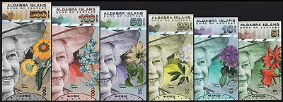 Set, Aldabra Island 5-10-20-50-100-500 Dollars 2018 Fantasy QEII, Colorful Birds