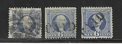 6c 1869 #115 - 3 Copies, 2 With PAID Cancels, Other Fancy Geometric, Each Has SE