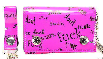 - Chain Wallet Pink Fcuk Print  shiny Hot Pink Bikers Punk Goth & Rockabilly